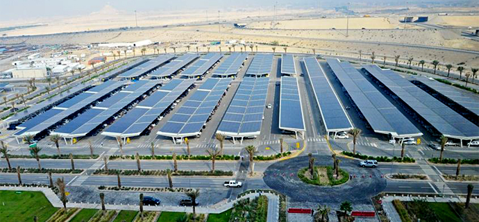 10.5 MW installation on parking lot of oil company Saudi Aramco in Saudi ArabiaHigh yields in desert state thanks to high  temperature stability of the modules