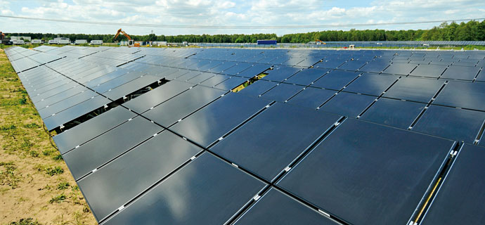 Free field power plant in technology and industrial area of Eberswalde5 MW solar power plant with over 36,000 modules installed CIS modules